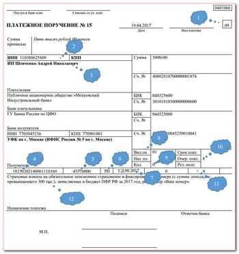 Заполнение платежного поручения в 2019 году: образец